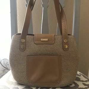 Eric Javits Straw with Leather Handbag Tote Small